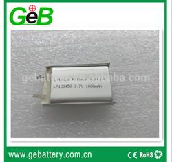 High quality GEB 103450 3.7V 1800MAH prismatic li polymer battery cells for MP3
