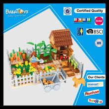 Happy creative toys house farm block wholesale educational toy