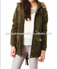 2014 newest design Khaki Parka Coat With Fur Hood for women thicken winter coat