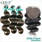 Aliexpress hot selling natural color original Brazilian virgin hair bundles with lace closure