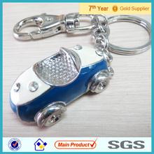 Alloy Material Crystal Keychain,Bule enamel Car Type Diamond Keychain #15019