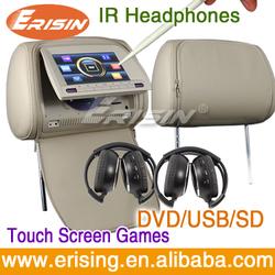 Black/Beige/Grey HD 2x 9 inch Car Headrest Monitor ES998 ERISIN