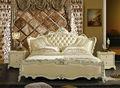 magnífico 2014 moderno de cuero doble cama estaba hecha de marco de madera maciza y cuero genuino con tallado para los muebles del dormitorio