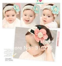 JPheadband 012 baby girl hair accessories silk flower headband elastic headband Kids children's jewelry ribbon 3 color