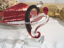 Two Hearts Murano Glass Cake Topper