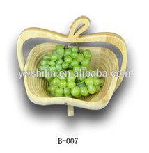 Apple shape bamboo folding fruit basket with handle / bamboo bread baskets / bamboo baskets wholesale
