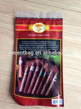 Transparent window of cigar bags,zipper bag and cigar packaging,Golden logo cigar bag