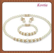 fashion bridal pearl bead full magnetic jewelry set