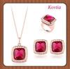 top sale crystal avenue fashion wedding ruby ring jewelry set joyeria acero inoxidable