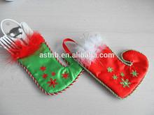 Popular professional Christmas Stainless steel pocket / satin santa stockings with tomenta