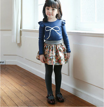 2014 new fashion korean style printed children's clothes girls bow fly sleeve cotton T-shirt