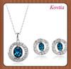 royal crystal avenue blue rhinestone silver wedding jewelry set for bridemaid