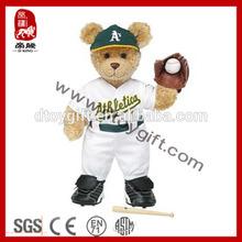Baseball player bear wholesale stuffed teddy bear plush sports bear