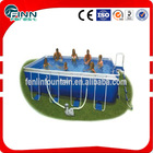 blue color portable inflatable rectangular above ground plastic swimming pools sale
