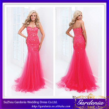 High Quality 2014 New Fashion Full Length Sweetheart Neck Beaded Bodice Mermaid Tulle Vestidos Formales 2014 Prom Dresse (ZX961)