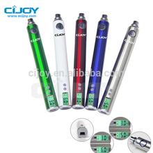 1300mah 3-6v /5-15w LCD variable watt ecig with ohm meter,Green vaper ego-v4 mega battery
