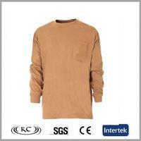 italy 100%cotton hotsale orange pocket man's tight fit long sleeve t-shirt
