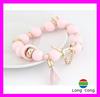 fashion chains ladies pink tassel bead bracelet HE1756