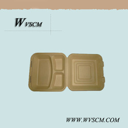 Eco friendly 3 slot hinged clamshell box container