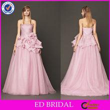NC339 Fabulous Ruffled Flower Strapless 2015 New Fashion Pearl Pink Wedding Dresses