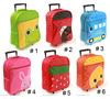 wholesale kid children cartoon trolley school bag ,rolling backpack,wheeled bag frog/duck / car/rabbit