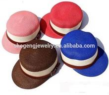 Unisex Summer Beach Sun Straw Hat Cadet Derby Hat with Belt
