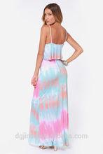 Tie-Dye Blue Maxi Dresses/plus size womens clothing