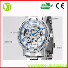 Hot Selling WINNER Mens Fashion Casual Water Resistant Leather/steel Roman numerals Mechanical Skeleton Watches