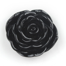 G052210 45mm Halloween Black Large Resin Rose Flower Beads Fit DIY Kids Chunky Bubble Hallowmas Necklace Making with Hole