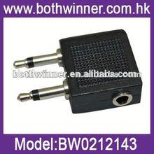 WQ083 3.5mm 1/8 airplane travel headphone adapter gold