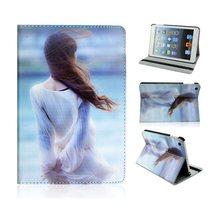 Fashion girl back Camouflage pattern case for iPad mini, 360 Rotating Flip Cover for iPad mini case