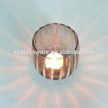 Unique design wholesale hand blown decorative pumpkin shaped glass candle cup|votive candle jar|Halloween glass candle holder