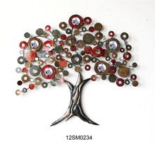 Best selling antique hand-made wholesale tree metal wall arts with photo frame for home decoration