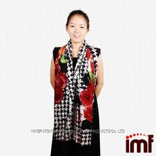 Fashion Mongolia Black Bird Plaid Print 100% Wool Shawl Scarves 2014 Autumn