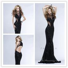 DWS659 Mermaid Sleeveless Black Squnis Long Hong Kong Evening Dresses Evening Gown 2014
