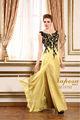 Magnifique!!! Style longue robe dos nu bateau plancher appliques chic, conçus big serrées. backless robe de soirée jaune
