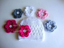 Crochet Baby Hat/Beanie in White with 4 Flower