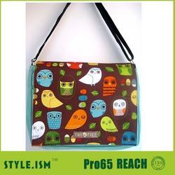 super cute owl print canvas messenger bag sling bag