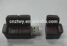 Promotion sofa shape PVC usb flash, customized design usb stick