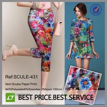 Scuba impressão de papel tecido/flor tecido estampado/flores de tecido para vestidos