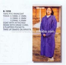 R-1056 polyester adult raincoat purple pvc rainsuit rain coat
