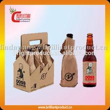 Hot stamping printed wine bottle holder 6 pack bottle carrier, cardboard bottle packaging