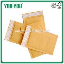 high quality gold kraft bubble envelope, gummed or Peel & seal