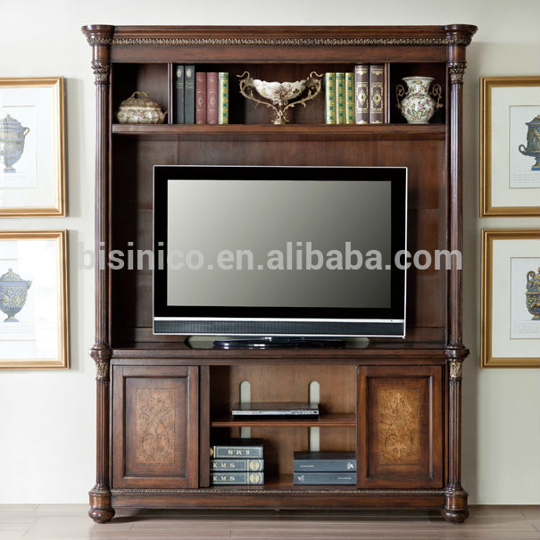 Vintage design wooden tv cabinet america style replica for Living room wood cupboard designs