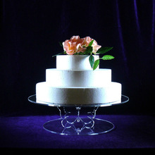 Plastic Party Cake Stand Wholesale Pure Circle Acrylic Butterfly Support 14 Inches Cake Stand