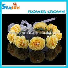 Bright Yellow Artificial Flower Boho Halo Flower Crown Woodland Fairy hair garland Wreath