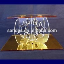 Smooth Golden Color Acrylic Cake Table with Star Shape Pillar Haih Quality Acrylic Cake Table