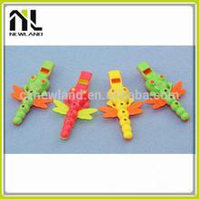 Hot selling kids animal shape cheap colorful emergency novelty flat plastic whistle toy