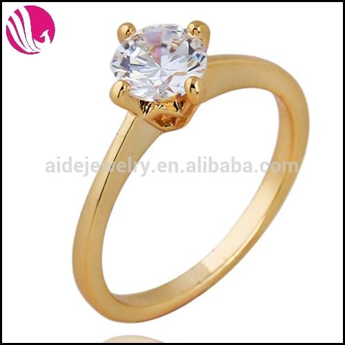 Plaqué or bague zircon cubique, simple anneau, bijoux de mariage ...