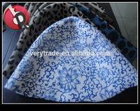 100% australia wool felt hat body china vase flower pattern Blue and white